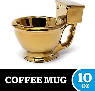 BigMouth Inc Golden Toilet Mug, Hilarious Coffee Mug, Holds 10 Oz of Coffee, Tea or Water, Ceramic Mug