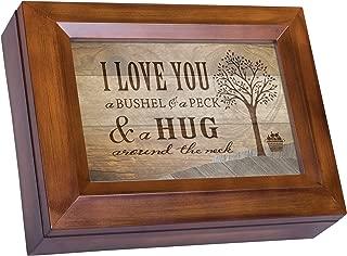 Cottage Garden Love You a Bushel Peck Hug Around The Neck Woodgrain Digital Keepsake Music Box Plays My Wish