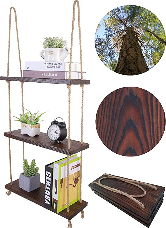 HXSWY Rustic Wood Hanging Rope Shelves Bathroom Kitchen Window Shelf For Plants Indoor Wall Floating Shelves Espresso
