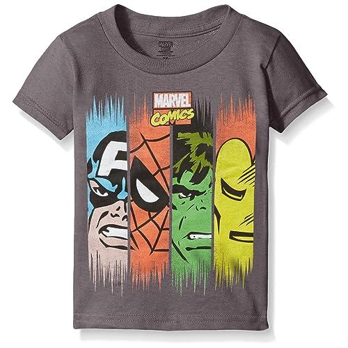 1f4091f7 Marvel Boys' Toddler Boys' Comics Super Heroes Face Panel Short Sleeve T- Shirt