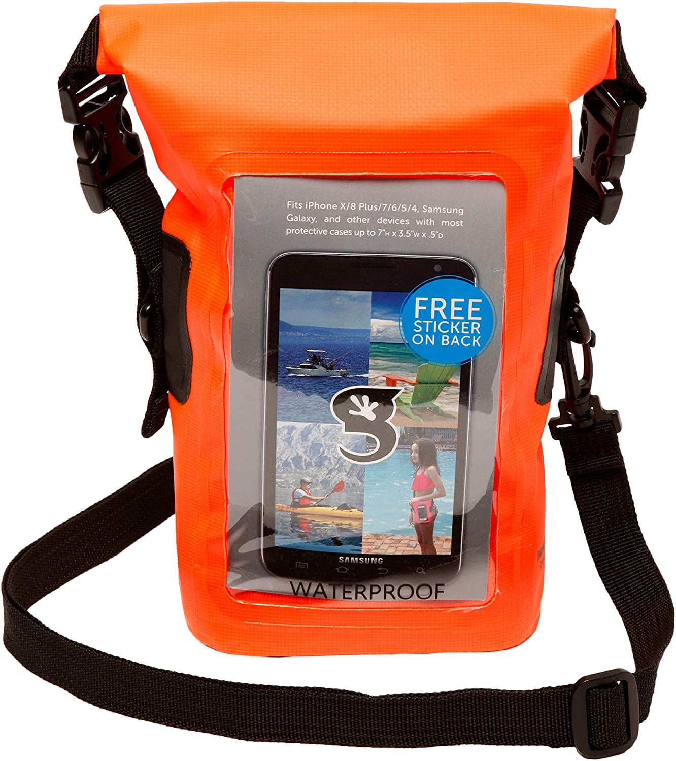 geckobrands Waterproof Phone Tote - Outdoor Phone Pouch & Dry Bag – Fits Most iPhone and Samsung Galaxy Models, Neon Orange