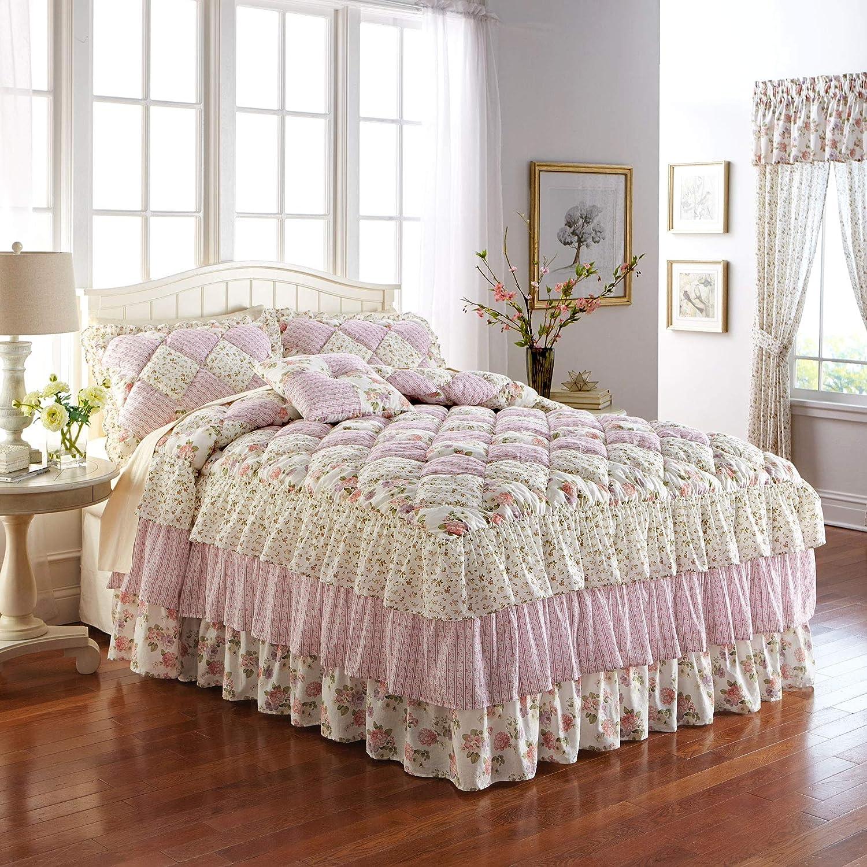 BrylaneHome Alexis Bedspread - Rose El Paso Mall Japan Maker New Ecru Multicolored Queen