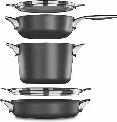 Calphalon Premier Space Saving Nonstick Supper Club Set, 2032932, Black, 5-Piece