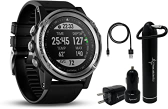 Garmin Descent MK1 Versatile Dive Computer with Surface GPS and Multisport Features and Wearable4U Ultimate Power Pack Bundle (Silver Sapphire with Black Band)