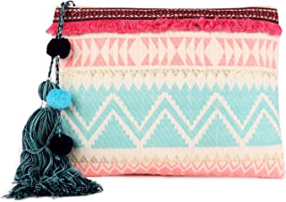 ASTRID Pink & White Cotton Dhurry Girls Pouch With Tassels