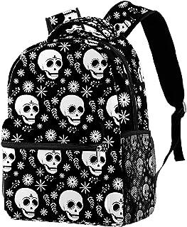 حقيبة ظهر غير رسمية حقيبة كتب للمدرسة الثانوية والتنزه سيرًا على الأقدام والتخييم حقيبة ظهر بيضاء على شكل جمجمة