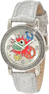 Frenzy Kids' FR461 Silver Glitter Strap Frog Watch