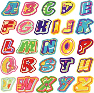 Name Iron on Patch, Satkago 26Pcs DIY Alphabet Letter Patches Embroidered Patch Sew On Patches Applique for Clothes Jackets T-Shirt Jeans Skirt Vests Scarf Hat Backpacks