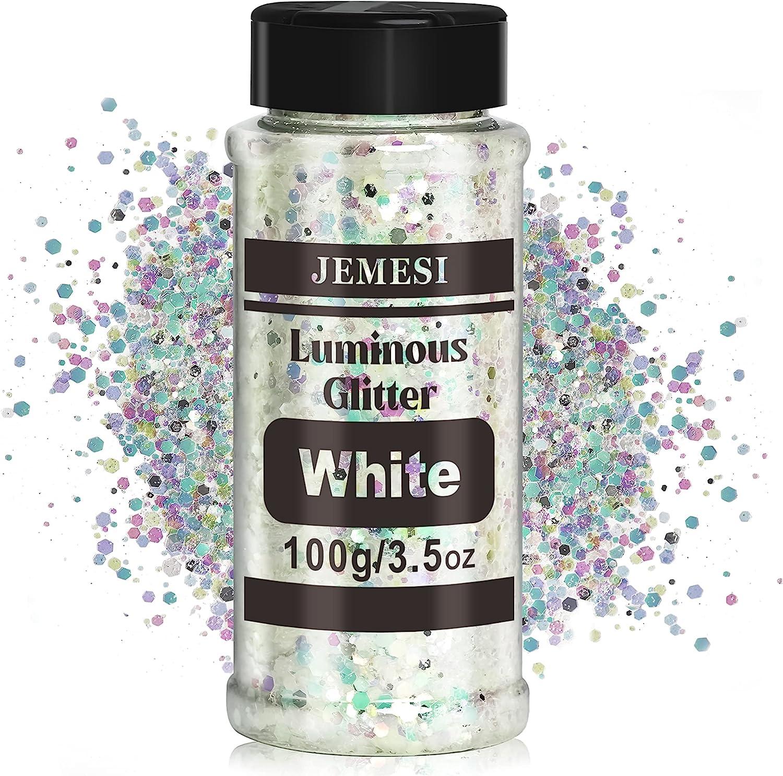 Glow in The Dark New item Glitter - White Glitt 100g SEAL limited product Slime Luminous for