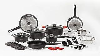 NEWCHEF Batería de Cocina de Aluminio Fundido, 27 piezas, Juego de Utensilios de Cocina Antiadherentes, con Protectores de Silicona, Apto para Cocinas de Inducción, Libre PFOA