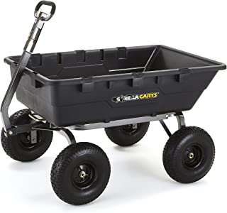 Gorilla Carts GOR10-COM Extra Heavy-Duty Poly Dump Cart with 2-in-1 Convertible Handle, 1500-pound Capacity, Black
