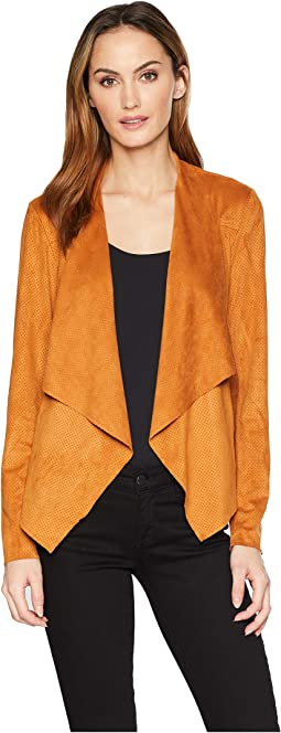 Draped Jacket in Perforated Microsuede