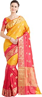 Viva N Diva Sarees for Women's Party Art Silk Kanchipuram Saree with Un-Stiched Blouse Piece,Free Size