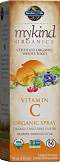 Garden of Life Vitamin C with Amla - mykind Organic Whole Food Supplement for Skin Health, Orange Tangerine Spray, 2oz Liq...