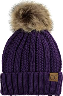 0d3ddd1aedf C.C Thick Cable Knit Faux Fuzzy Fur Pom Fleece Lined Skull Cap Cuff Beanie