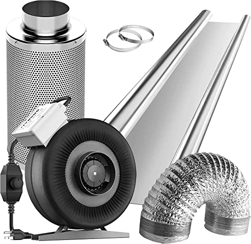 new arrival VIVOSUN Horticulture Highly Reflective Mylar Film Roll 4FT X 50FT 2 Mil, and 4 Inch 203 CFM Inline Fan with Speed online sale Controller, 4'' Carbon Filter and 8 outlet online sale Feet of Ducting Combo outlet online sale