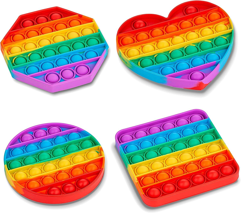 4 Pack Pop It Pop Its Rainbow Pop Fidget Toys Poppet Push Pop Bubble Fidget Popping Sensory Toy for Kids and Adults, Fidget Popper Stress Relief 4 Shapes Fidget Poppers Circle, Square, Octagon, Heart