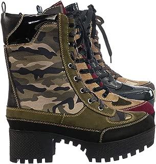 F-Fur Lining Lightweight Block Heel Lugsole Color Block Combat Boot