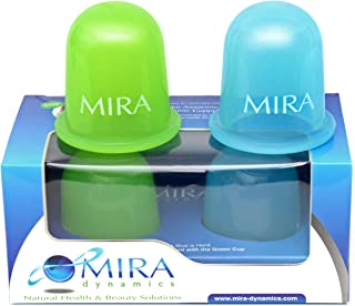 MIRA Anti Cellulite Silicone Vacuum Massage Cups - For Body Cupping Therapy and Cellulite Removal - Set of 1 Soft (Green) and 1 Hard (Blue) Cups