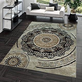 TT Home Alfombra Pelo Corto Económica Fácil Limpiar Diseño Meandro Oriental Beige Marrón, Größe:120x170 cm