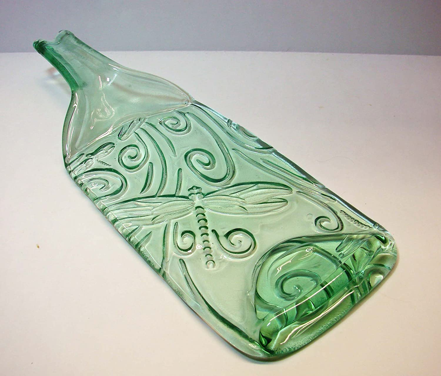 New popularity Dragonfly Embossed Green Ranking TOP16 Tint Wine Neck with Bottle Raised UpCyc