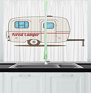 Ambesonne Camper Kitchen Curtains, Cute Vintage Van Recreational Caravan Travelers Truck on the Road Retro Graphic Design, Window Drapes 2 Panels Set for Kitchen Cafe, 55W X 39L Inches, Beige
