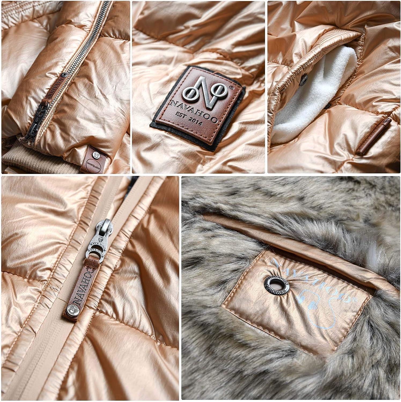 Navahoo Premium Damen Winter Jacke Parka Mantel Winterjacke warm Kunstfell B828 Gold