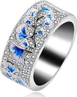 Uloveido Women's Platinum Plated Blue Drop Glazed Ginkgo Leaf Autumn Ring with Round Brilliant CZ Y538