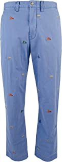 RALPH LAUREN Polo Men's Embroidered Nautical Stretch Straight-Fit Chino Pants, Haven Blue (34x34)