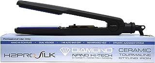 H2PRO Silk Titanium Ceramic Tourmaline Treated Plates Styling Iron Straightener 1 3/4'' Black SR134