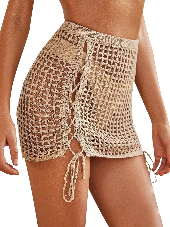 MakeMeChic Women's Tassel Knit High Elastic Waist Mini Cover Up Skirt for Swimwear