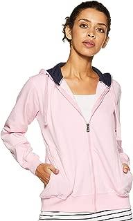 WOKNIT Women's Cotton Hooded Zipper Pink Sweatshirt