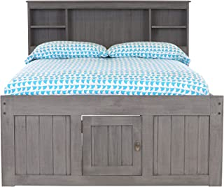 Discovery World Furniture Charcoal Full Bookcase Bed with 12 Drawers