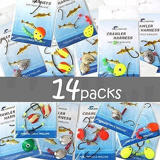 14 packs Crawler Harness Walleye Spinner Rig - 1-hook,2-hook,3-hook