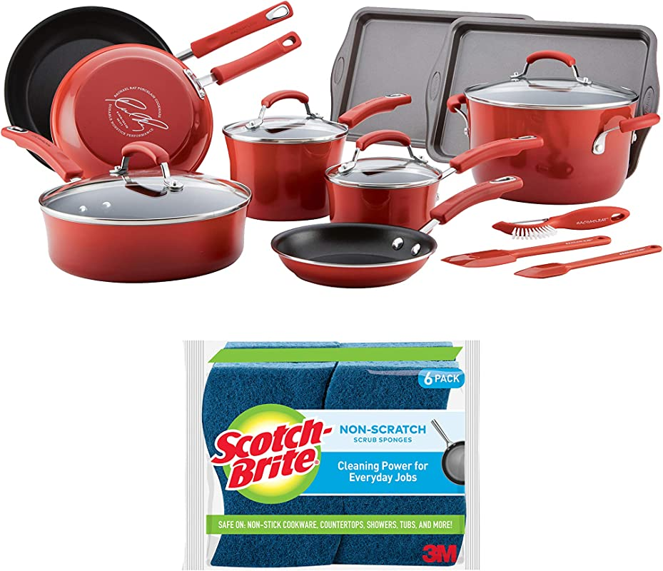 Rachael Ray S 16 Piece Classic Brights Porcelain Enamel Nonstick Cookware Set Red Bundle With Scotch Brite 6 Piece Non Scratch Scrub Sponge