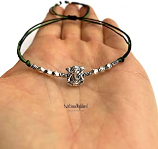 Braccialetto GANESH ELEPHANT GOD SHIVA INDIA HINDU KRISHNA GANESHA BUDDHA perle tibetane. Creazione personalizzata di cord...
