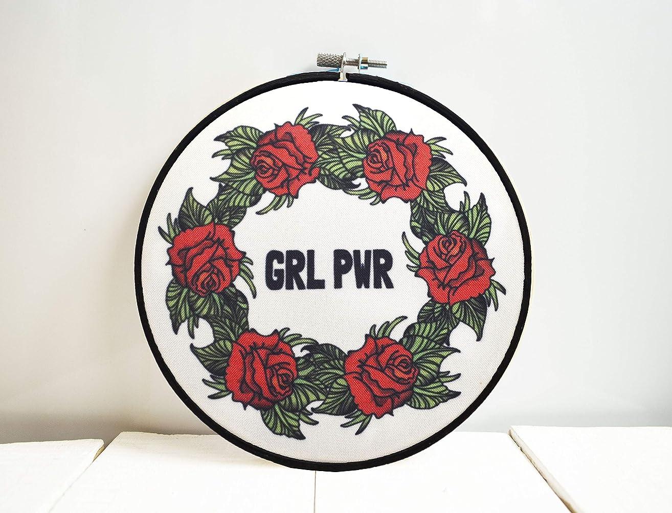 Girl power wall art Girl boss gift Women empowerment Feminist hoop art GRL PWR Feminist gift Nasty woman