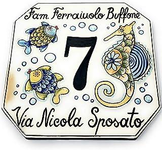 CERAMICHE D'ARTE PARRINI- Ceramica italiana artistica numero civico in ceramica 20x18 personalizzato decorazione pesci, ma...