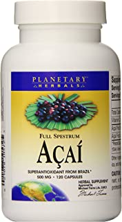 Planetary Herbals Full Spectrum Acai Extract Capsules, 500 mg, 120 Count