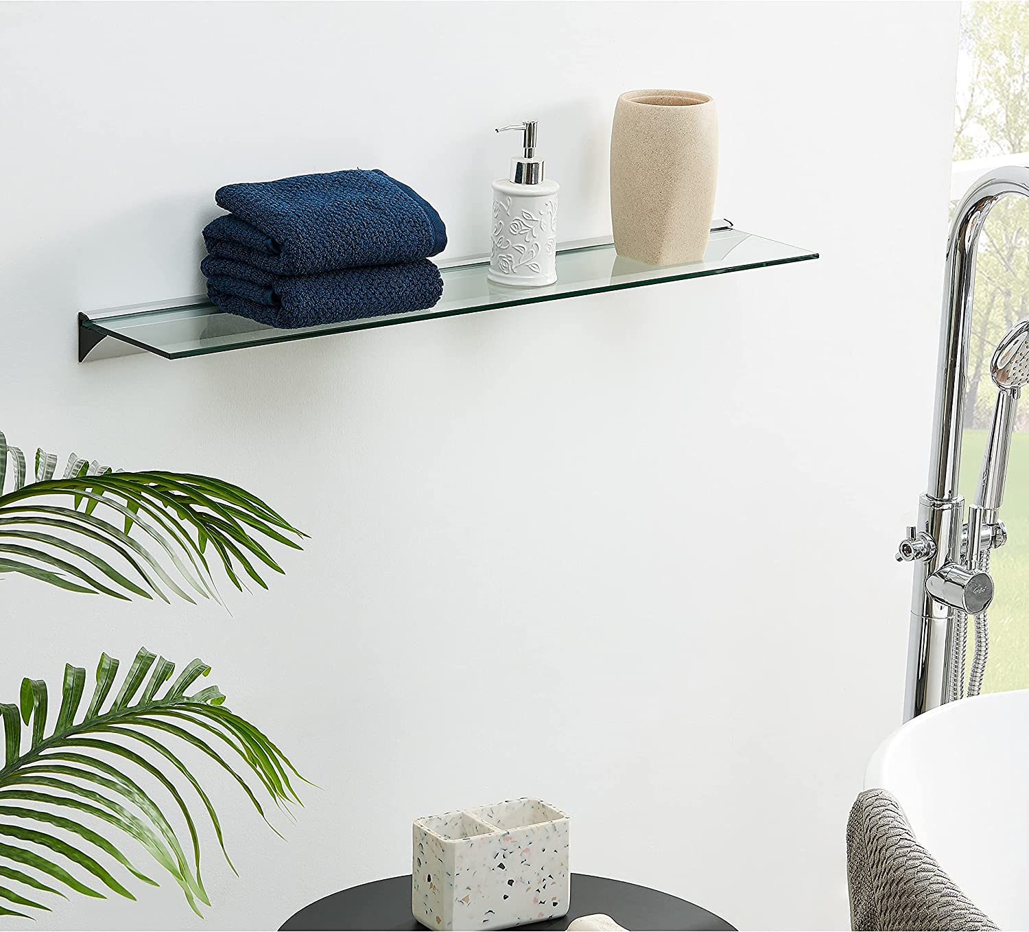 Unknown1 32 in Modern Clear Glass Shelf On Floating Max 74% OFF Contempo Super-cheap Bar