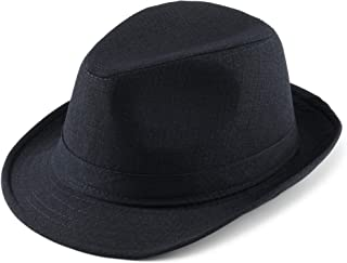 FALETO Men's Casual Manhattan Structured Gangster Trilby Fedora Hat