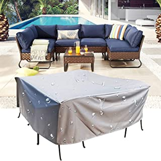 RO Silver Patio Furniture Covers,Outdoor Garden Dust Cover,Patio Table Cover,Square/Rectangular Outdoor Furniture Cover fo...