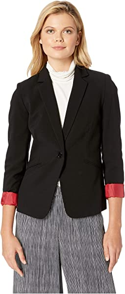 Bi-Stretch Jacket with Red Roll Cuff Sleeve