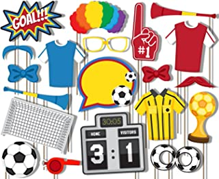 Birthday Galore Soccer Photo Booth Props Kit - 20 Pack Party Camera Props Fully Assembled