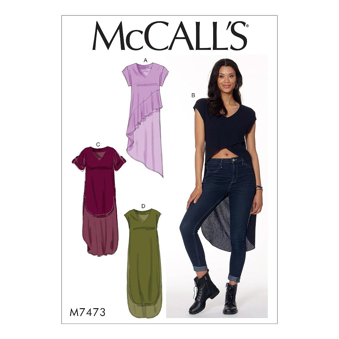 MCCALLS M7473 (SIZE 14-22) Misses' V-Neck, High-Low Hem TunicsS SEWING PATTERN