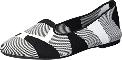 Skechers Wohommes Cleo-Sherlock-Engineerouge Knit Loafer Skimmer Ballet Flat, noir blanc, 9.5 M US
