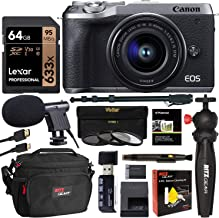 Canon EOS M6 Mark II Mirrorless Camera with Viewfinder and EF-M 15-45mm Lens (Silver) CN3612C011 with Lexar 64GB U3 Video Memory Card, Tabletop Tripod, Filter Kit, Memory Card Reader and Camera Bag