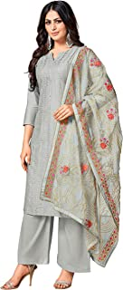Monira Women's Pure Jam Cotton Embroidered Semi-Stitched Salwar Suit Material With Heavy Embroidered Dupatta