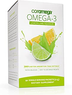 Coromega Omega 3 Fish Oil Supplement, 650mg of Omega-3s with 3X Better Absorption Than Softgels, Lemon Lime Flavor, 90 Single Serve Squeeze Packets