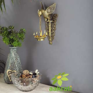 Aakrati Brass Parrot Showpiece with Diya Decorative Bird Welcome Door Hanging Statue Wall Decor Metal Sculpture/Statue - Unique Gift on Festival